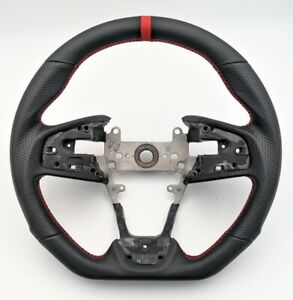 Sports Leather Steering Wheel Red Ring For 2016 2020 Honda Civic Gen 10th Type R