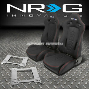 Nrg Black Reclinable Racing Seats Stainless Steel Bracket For 92 95 Civic Ej Eg