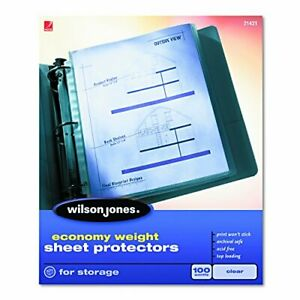 Economy Weight Top loading Sheet Protectors Clear 100 box w21421
