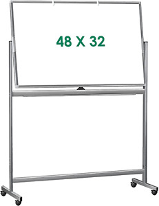 Double Sided Mobile Whiteboard 48 X 32 Inches Large Rolling White Board Maxtek