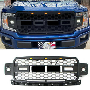 Front Grille Grill For 18 20 Ford F150 Raptor Style Matte Black W Side Led Lamp