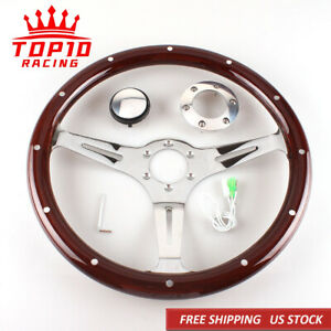 380mm 15 6 Hole Chrome Dark Steering Wheel Real Wood Riveted Grip With Horn