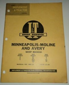 Minneapolis Moline Bf To Zt Avery A R V Tractor I t Shop Service Manual Mm 2a V