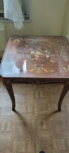 Vintage Italian Inlaid Lacquered Wood Gaming Table Excellent Condition Casino