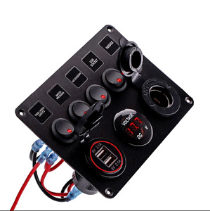 Waterproof Rocker Switch Panel 5 6 Gang Toggle Switch With Dual Usb For Car Boat