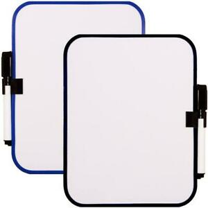 2 Pieces Board With Magnetic Strips Whiteboard Dry Erase Fridge Board White New