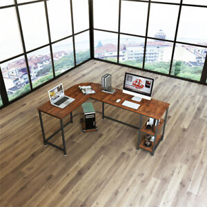 Home Office L shaped Computer Desk Pc Laptop Notebook Table shelves Waterproof