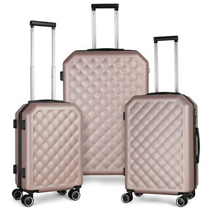 New Listing3 Piece Hardshell Lightweight Carrying Cases Four Double Wheel Carrying Cases
