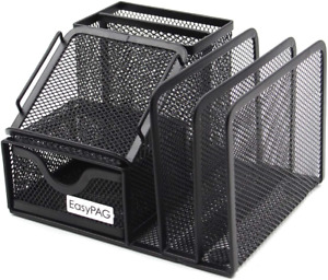 Easypag Mesh Office Supplies Desk Organizer Caddy With Drawer 6 5 X 5 5 X 4 25