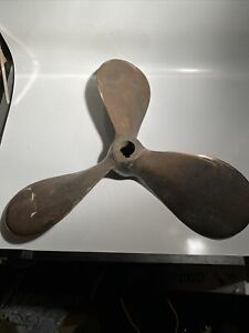 Salvaged Antique Brass Ship Propeller 20 Inch Black Brown In Color 9513