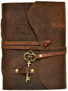 Compass Vintage Leather Journal Notebook Bound Writing Diary Sketch Deckle Book