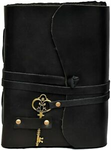 Compass Vintage Leather Journal Notebook Bound Sketch Writing Diary Deckle Book