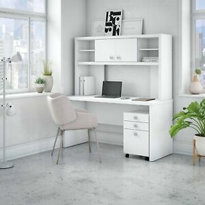 Echo Credenza Desk With Hutch And Mobile File From Office By White Medium