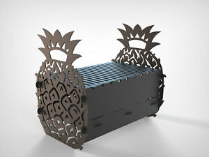 Grill Pineapple Fire Pit Mangal Dxf Files For Plasma Laser Waterjet Or Cnc