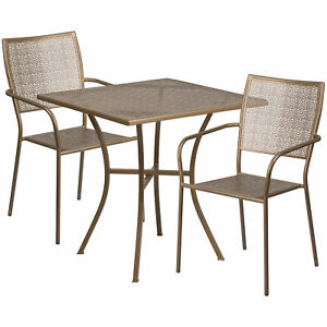28in Square Metal Patio Table Set With 2 Square Back Chairs Gold Co28sq02chr2gd
