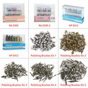 Dental Burs Cups Brushes Composite Polishing Kit For Low Speed Handpiece Zls