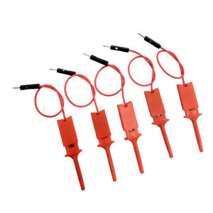 Red High quality Cable Probe Test Hook Clamp Wire Logic Analyzer 5pcs set