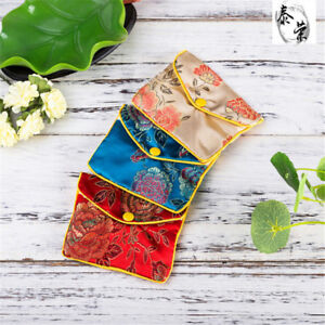 5pcs Jewellery Jewelry Silk Pouch Packaging Bags Wedding Party Gi Aeexh1