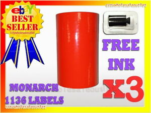 3 Sleeves Fluorescent Red Label For Monarch 1136 Pricing Gun 3 Sleeves 24rolls