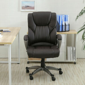 New Pu Leather High Back Office Chair Executive Task Ergonomic Computer Desk