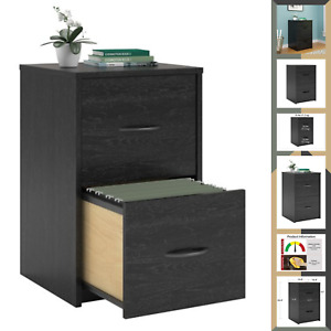 New Small Space File Organizer 2 Drawer Wood Cabinet For Home Office Black Oak