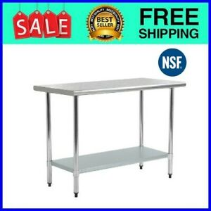 Stainless Steel Kitchen Work Table Commercial Restaurant Table 24 X 48 Inchs