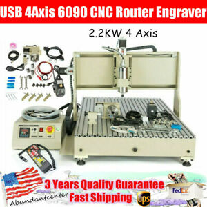 2 2kw Usb 4axis 6090 Cnc Router Engraver Vfd Milling Carving Machine controller