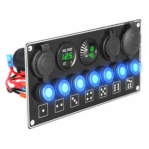 7 Gang Rocker Switch Panel Usb Qc3 0 Pd Car Fast Quick Charging On off Volmeter