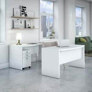 Echo Bow Front Desk And Credenza With Mobile File From White Medium