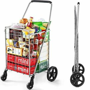 Wellmax Wm99024s Grocery Utility Shopping Cart Easily Collapsible And