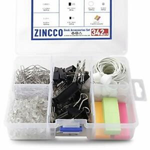 342 Pcs Small Office Supplies Kit With Storage Container Metal Binder Clips Med