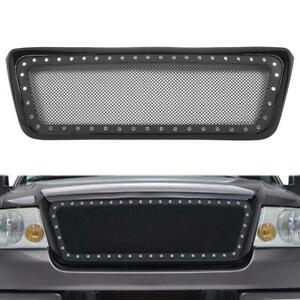 S S Mesh Front Upper Bumper Rivet Hood Grille W Shell For 2004 2008 Ford F150