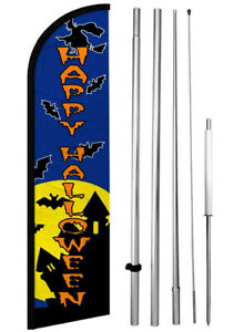 Happy Halloween Windless Swooper Feather Flag 15 Tall Pole Kit Banner Sign Bf h