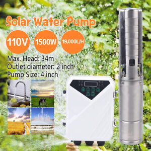 4 Dc Solar Submersible Water Pump Deep Well Complete Pump Kit W Mppt 2hp 110v