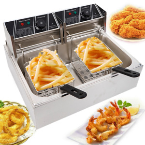 Electric Deep Fryer Stainless Steel Dual Tank Restaurant Home 12l 12 9qt 5000w