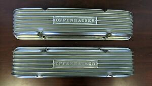 Offenhauser Finned Polished Valve Covers Small Block Chevy Staggered Bolt Patt