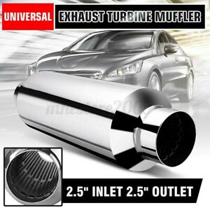 2 5 In Out Universal Stainless Steel Car Exhaust Turbine Muffler Resonator Us