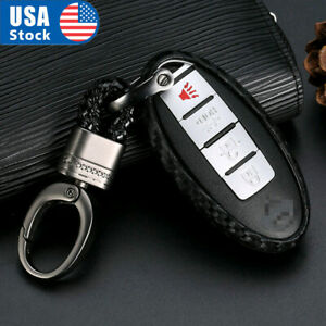 1set Carbon Fiber Styling Silicone Car Key Case For Nissan Infiniti Accessories