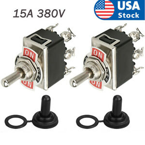 2packs 15a 380v 6 Pole Dpdt Momentary Toggle Switch Boot Cap On off on Amp