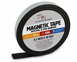 Heavy Duty Flexible Magnetic Tape Roll With Self Adhesive Backing Strip 1 Pack