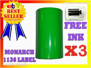 3 Sleeves Green Label For Monarch 1136 Pricing Gun 3 Sleeves 24rolls