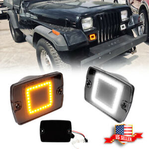 Fits Jeep 1987 1995 Wrangler Yj Smoked Switchback Led Drl Turn Signal Lights 2pc