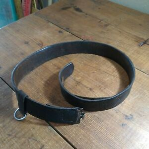 WWII GERMAN MILITARY LEATHER BELT IN GOOD USED CONDITION ORIGINAL NO BUCKLE $75.00