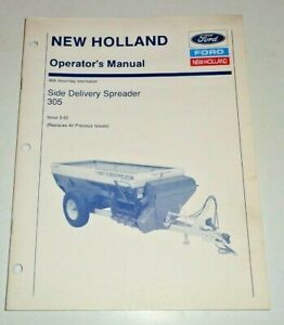 New Holland 305 Side Delivery Spreader Operators Owners Manual Original Nh 3 92