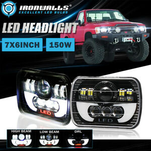 Pair 7x6 5x7 150w Led Headlight Drl Sealed Bright Lamp For Toyota Pickup Truck