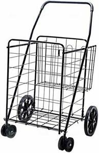 Jumbo Deluxe Folding Shopping Cart With Dual Swivel Whee And Double Basket