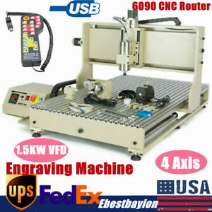 Usb 4 Axis Cnc 6090 Router Engraver Metal Milling Engraving Machine 1 5kw Vfd rc
