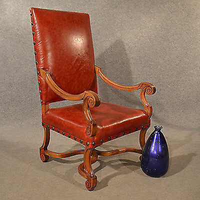 Antique Leather Throne Chair Large Walnut Frame Chair French 19th Century C1880