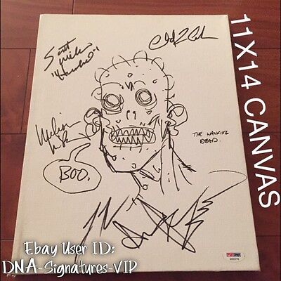 The Walking Dead Signed Adrew Lincoln Signed Robert Kirkman Signed Sketch (b