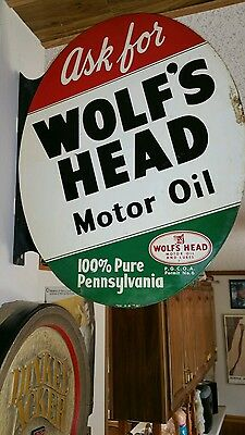 Authentic Vintage Historical  Wolf Head Double Sided Flange Sign